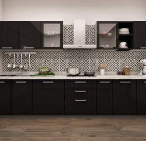 staright modular kitchen design in lucknow